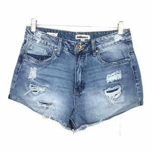 Dollhouse High Rise Diatressed Denim Jean Shorts